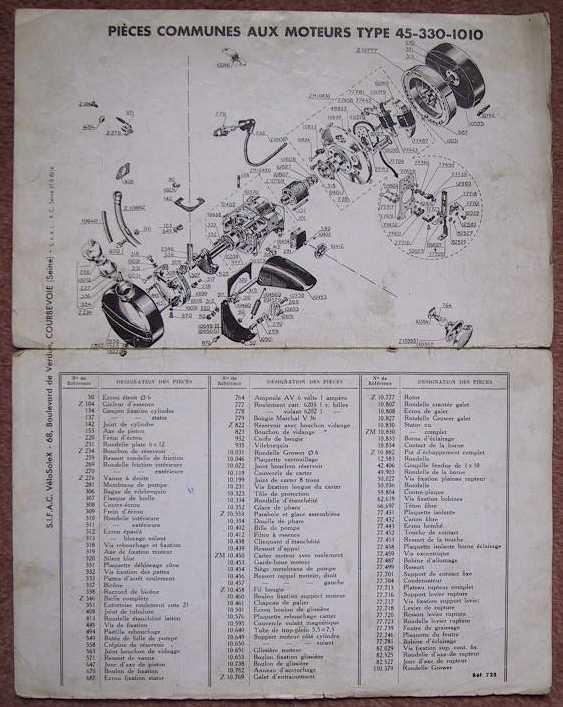 nomenclature moteur solex 1010